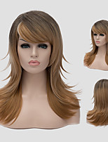 Brown black gradient and the new daily long hair wig fashion gradient Synthetic Wigs