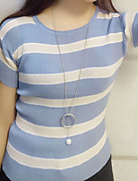 Women's Going out /Simple Regular Pullover,Striped Blue / Brown Round Neck Short Sleeve Cotton Summer Medium