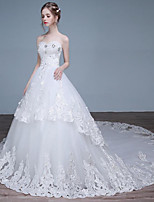 A-line Wedding Dress Chapel Train Sweetheart Lace / Tulle with Beading / Lace
