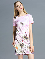 Boutique S Women's Casual/Daily Cute Shift Dress,Floral Round Neck Above Knee Short Sleeve Pink Polyester Summer