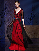 Formal Evening Dress A-line V-neck Floor-length Chiffon / Tulle / Sequined with Sash / Ribbon / Sequins