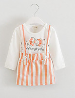 Girl's Casual/Daily Striped Dress / Tee / Clothing Set,Cotton Spring / Fall Black / Blue / Orange