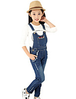 Girl's Cotton Spring/Autumn Fashion Hole Jeans Pants Suspender Trousers Patchwork Overalls