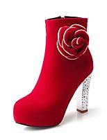 Черный / Красный-Женский-Для офиса / На каждый день-Флис-На толстом каблуке-Военные ботинки / С круглым носком-Ботинки
