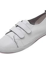 Da donna-Sneakers-Casual-Comoda / Punta arrotondata-Piatto-Di pelle-Nero / Bianco