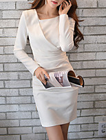 DABUWAWA® Women's Round Neck Long Sleeve Asymmetrical Split Dress