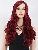 peluca cosplay ondulada larga popular de la mujer del pelo sintético animado pelucas sintéticas rojas