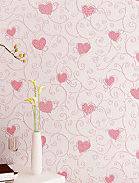 3D Pink Love Heart Cartoon Princess Girl Room Background Wallpaper Roll 3D Embossed Flocking