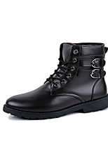 Men's Boots Spring Fall Winter Others PU Outdoor Casual Flat Heel Lace-up Studded Black Brown Walking Others