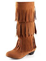 Mujer-Tacón Robusto-Botas a la Moda-Botas-Exterior / Casual / Fiesta y Noche-Semicuero-Negro / Amarillo / Beige