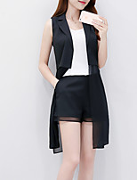 Women's Casual/Daily Street chic Summer Set,Solid Shirt Collar Sleeveless White / Black Polyester Medium
