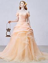 Serata formale Vestito Da ballo Drappeggiata Strascico da cappella Organza / Tulle con Con balze / Drappeggio di lato
