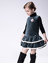 Girl's Casual/Daily Solid Dress,Polyester Winter / Fall Green
