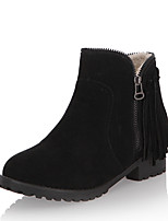 Women's Boots Winter Bootie / Round Toe Leatherette Dress Low Heel Zipper / Tassel Black / Brown / Beige Others