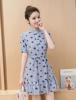 Maternity Casual/Daily Simple Loose Dress,Striped Stand Above Knee Short Sleeve Blue Cotton Summer