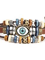 Punk Men's Bracelet PU Leather Bracelet Evil Eye Charm Multilayer for Men Fashion Jewelry