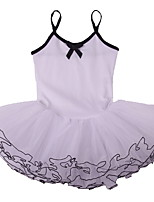 White Professional Children Girls Cotton Sleeveless Ballet Tutu Dresses, Skate Unitards Dancing Party Leotard Dancewear