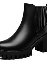 Черный / Красный-Женский-Для офиса / На каждый день-Синтетика-На толстом каблуке-На каблуках-Ботинки