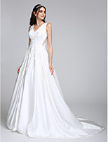 Lanting Bride® A-line Wedding Dress Court Train V-neck Satin with Appliques