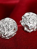 Personality OL Fine S925 Silver Simplicity Zircon Rose Flower Stud Earrings for Women Wedding Party Jewelry