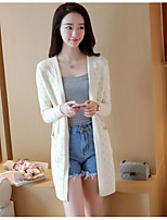 Women's Casual/Daily Cute Long Cardigan,Solid Blue / Pink / Beige / Gray Deep U Long Sleeve Cotton Spring / Fall Medium