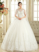 Ball Gown Wedding Dress Court Train Jewel Tulle with Beading / Crystal