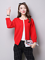 Women's Going out Cute Regular Cardigan,Solid Cotton / Acrylic / Polyester Spring / Fall Medium