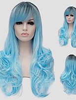 capelli lunghi acqua del volume blu micro e la discoteca vento colore spettacoli di strada milioni con una parrucca parziale.
