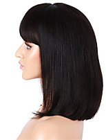 10-14 Inch Natural Black Color Short BoB Wig Light Yaki Straight Brazilian Virgin Human Hair Frontal Lace Wig