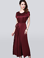 Women's Plus Size Vintage Swing Dress,Solid Round Neck Maxi Short Sleeve Red / Green Polyester Summer / Fall