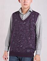 Men's Print Casual Vest,Cotton Sleeveless Purple / White / Gray