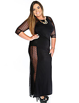 Women's Casual/Daily Simple Sheath Dress,Solid Round Neck Maxi ½ Length Sleeve Black Polyester Summer