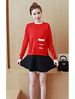 Women's Going out /Cute Regular Pullover,Color Block Red / Black Round Neck Long Sleeve Cotton Spring / Fall Medium