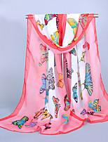Women's Chiffon Butterfly Print ScarfFuchsia/Blue/Green/Watermelon