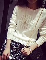 Damen Standard Pullover-Lässig/Alltäglich Einfach Solide Weiß / Grau / Lila Rundhalsausschnitt Langarm Baumwolle Herbst / Winter Mittel