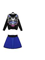 Women's Casual/Daily Street chic Fall T-shirt Skirt,Animal Print V Neck Long Sleeve Black Cotton Thin