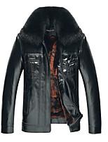 Men's Long Sleeve Casual Jacket,PU Solid Black