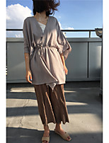 Women's Going out Street chic Fall Cloak/Capes V Neck ¾ Sleeve Gray / Green Polyester Thin