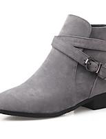 Черный / Серый / Миндальный-Женский-Для офиса / На каждый день-Дерматин-На низком каблуке-Ботинки / С круглым носком-Ботинки