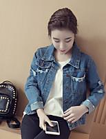 Women's Casual/Daily Simple Spring Denim Jackets,Solid Shirt Collar Long Sleeve Blue Cotton Medium