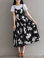 Maternity Casual/Daily Simple Loose Dress,Print Round Neck Midi Sleeveless Black Polyester Summer