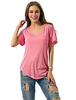 De las mujeres Chic de Calle Casual/Diario Verano Camiseta,Escote Redondo Un Color Manga Corta Poliéster Rosa / Verde Medio