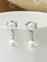Earring Round Drop Earrings Jewelry Women Fashion Daily / Casual Silver / Sterling Silver 1 pair Silver