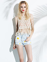 Women's Casual/Daily Simple Short Vest,Solid White Crew Neck Sleeveless Polyester Summer Thin