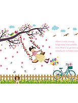 3D Wall Stickers Wall Decals Style Fence Swing Girl PVC Wall Stickers