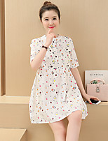Maternity Casual/Daily Street chic Loose Dress,Print Crew Neck Above Knee Short Sleeve White Polyester Summer