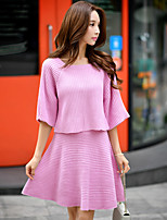 Women's Going out / Casual/Daily / Holiday Simple / Cute / Street chic Regular Pullover,Solid Pink Round Neck ¾ Sleeve