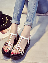 Women's Sandals Summer Sandals / Open Toe PU Casual Low Heel Rivet Black / White Others