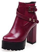Women's Shoes Boots Spring/Fall/Winter Heels/Platform/Bootie/Round Toe Casual Chunky Heel Buckle/Zipper Black/Brown