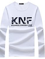 Letter-Informeel / Sport / Grote maten-Heren-Katoen-T-shirt-Lange mouw Zwart / Blauw / Wit / Grijs